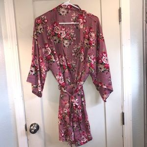 Other - Floral pink cozy robe with tie one size fits most